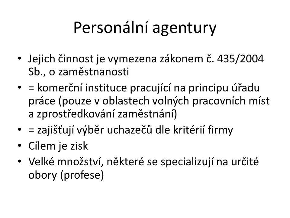 Personální agentury Jejich činnost je vymezena zákonem č. 435/2004 Sb., o zaměstnanosti = komerční instituce pracující na principu úřadu práce (pouze