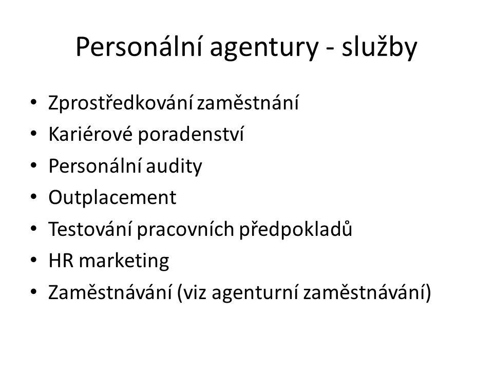 Personální agentury - služby Zprostředkování zaměstnání Kariérové poradenství Personální audity Outplacement Testování pracovních předpokladů HR marke