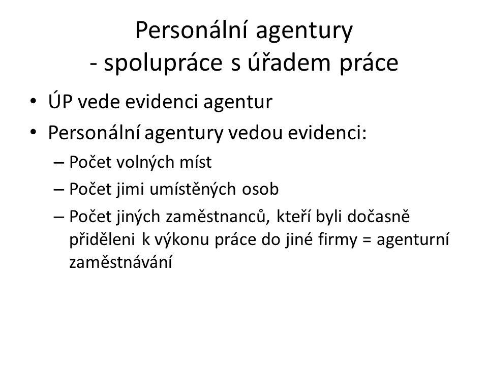 Personální agentury - spolupráce s úřadem práce ÚP vede evidenci agentur Personální agentury vedou evidenci: – Počet volných míst – Počet jimi umístěn