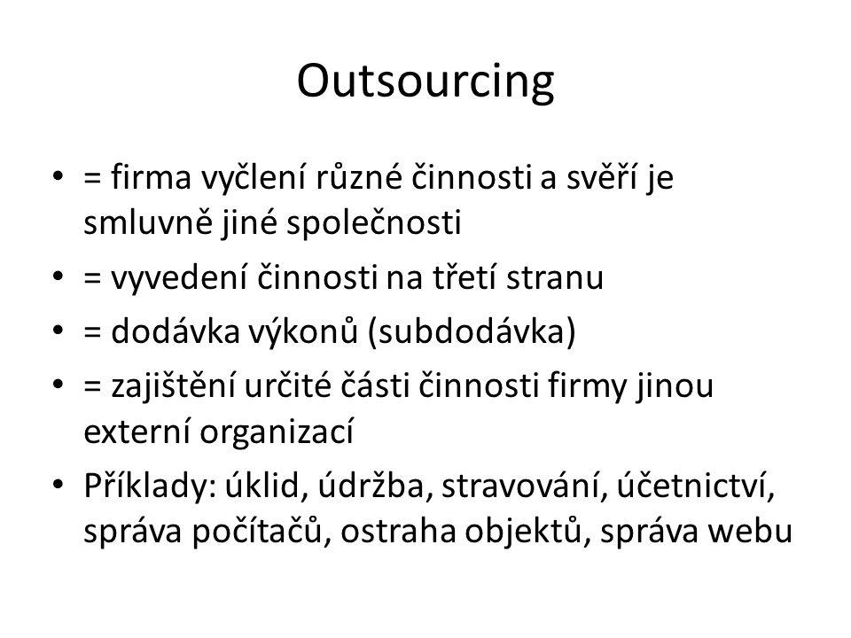 Outsourcing = firma vyčlení různé činnosti a svěří je smluvně jiné společnosti = vyvedení činnosti na třetí stranu = dodávka výkonů (subdodávka) = zaj