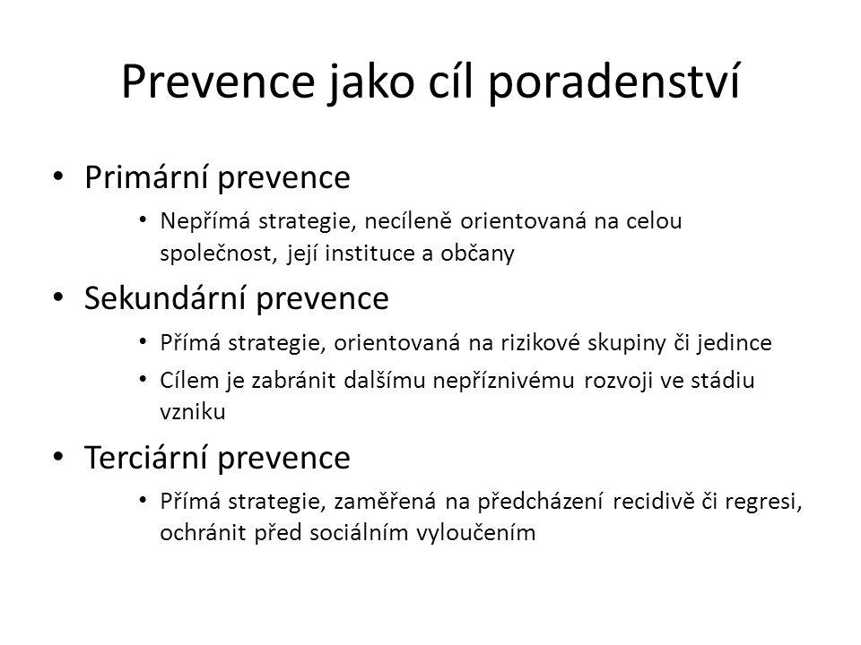 Prevence jako cíl poradenství Primární prevence Nepřímá strategie, necíleně orientovaná na celou společnost, její instituce a občany Sekundární preven
