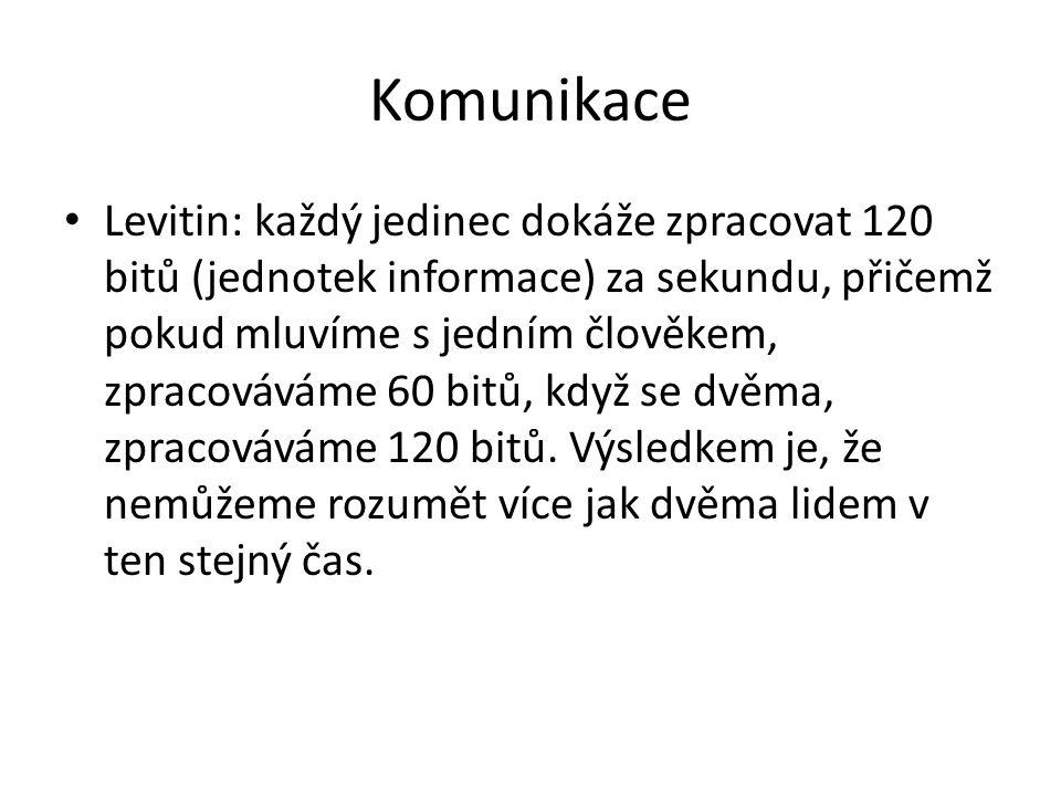 Komunikace Levitin: každý jedinec dokáže zpracovat 120 bitů (jednotek informace) za sekundu, přičemž pokud mluvíme s jedním člověkem, zpracováváme 60
