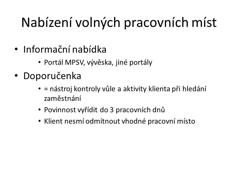 Nabízení volných pracovních míst Informační nabídka Portál MPSV, vývěska, jiné portály Doporučenka = nástroj kontroly vůle a aktivity klienta při hled