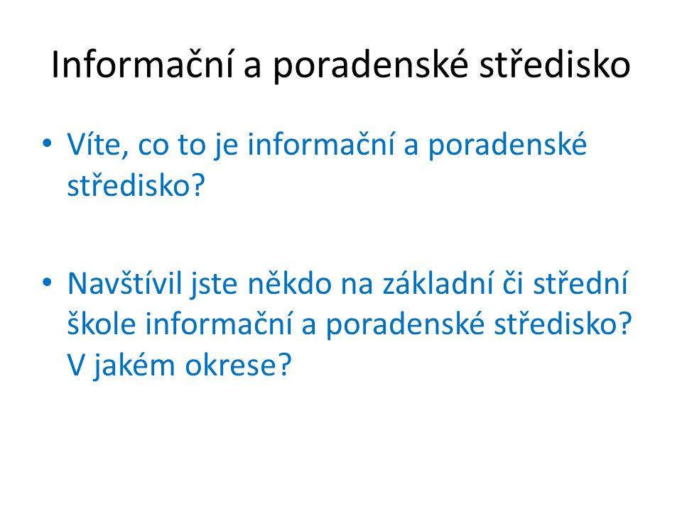 Informační a poradenské středisko Víte, co to je informační a poradenské středisko? Navštívil jste někdo na základní či střední škole informační a por