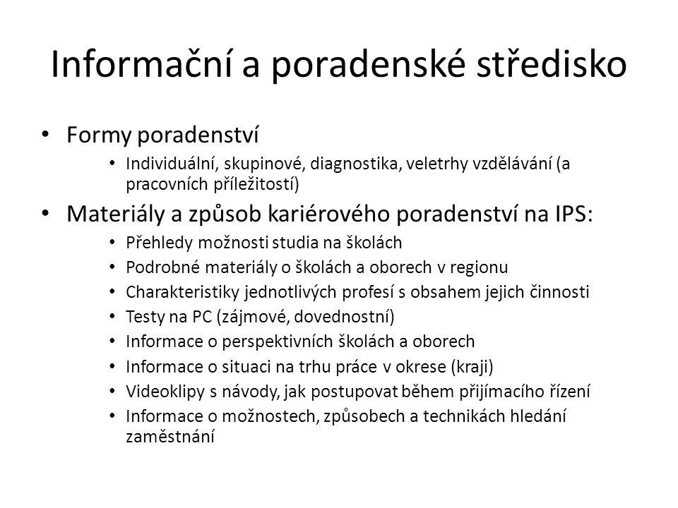 Informační a poradenské středisko Formy poradenství Individuální, skupinové, diagnostika, veletrhy vzdělávání (a pracovních příležitostí) Materiály a