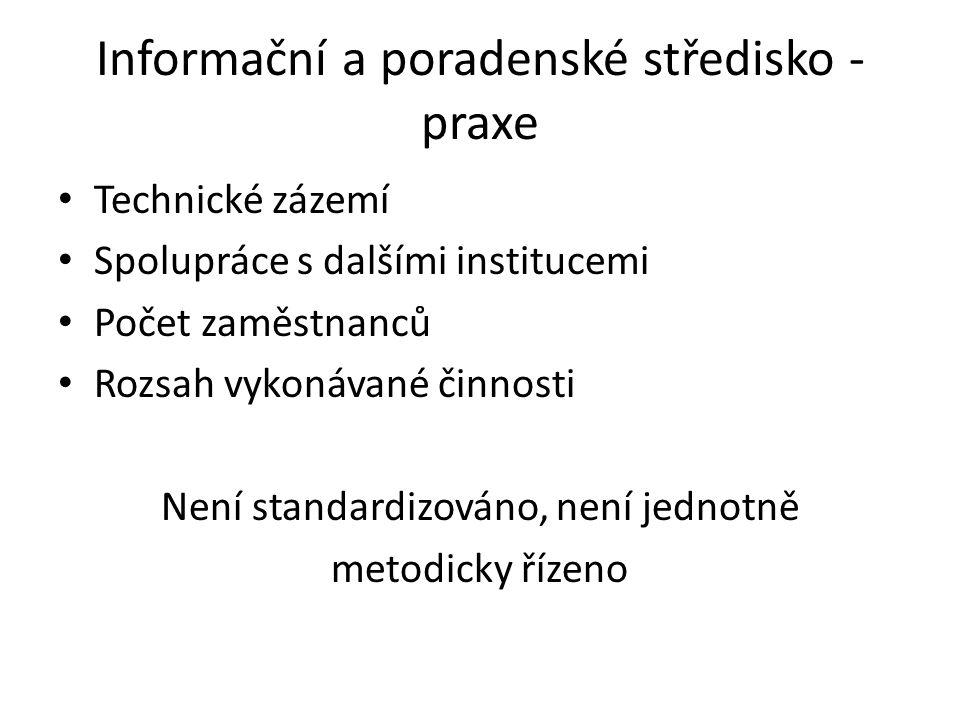 Informační a poradenské středisko - praxe Technické zázemí Spolupráce s dalšími institucemi Počet zaměstnanců Rozsah vykonávané činnosti Není standard
