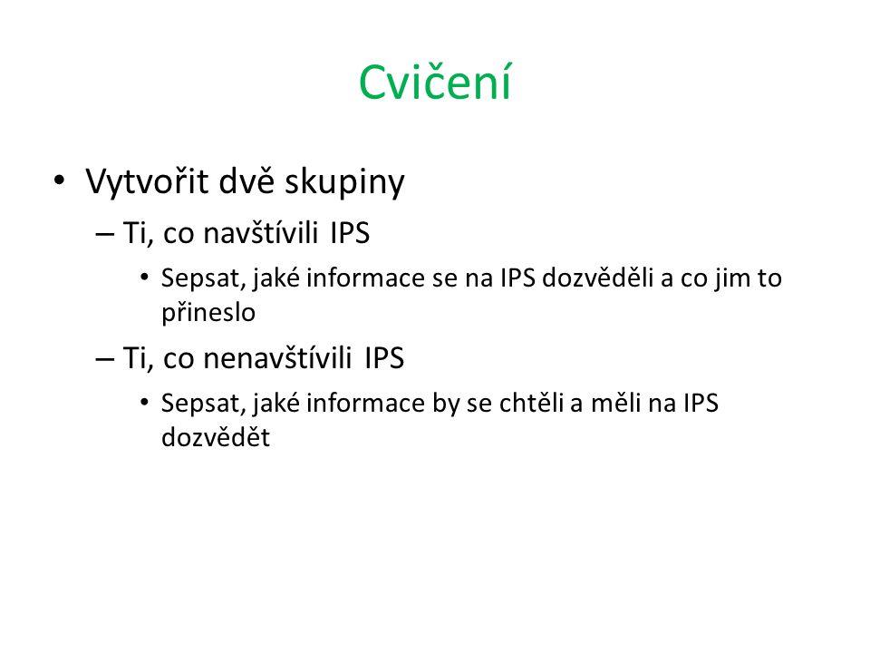 Cvičení Vytvořit dvě skupiny – Ti, co navštívili IPS Sepsat, jaké informace se na IPS dozvěděli a co jim to přineslo – Ti, co nenavštívili IPS Sepsat,
