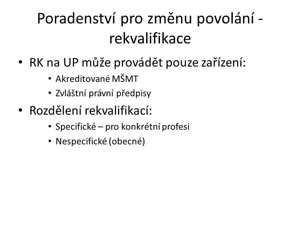 Poradenství pro změnu povolání - rekvalifikace RK na UP může provádět pouze zařízení: Akreditované MŠMT Zvláštní právní předpisy Rozdělení rekvalifika