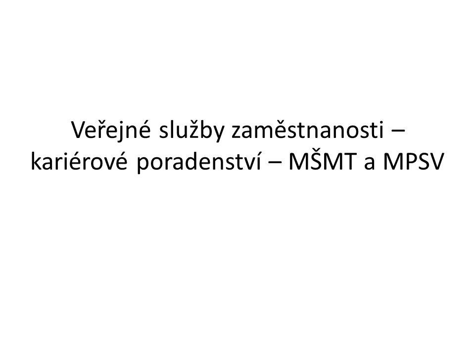 Veřejné služby zaměstnanosti – kariérové poradenství – MŠMT a MPSV