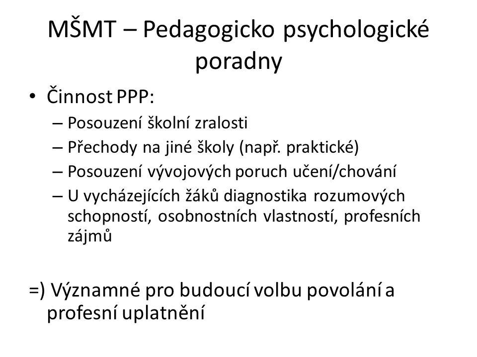 MŠMT – Pedagogicko psychologické poradny Činnost PPP: – Posouzení školní zralosti – Přechody na jiné školy (např. praktické) – Posouzení vývojových po