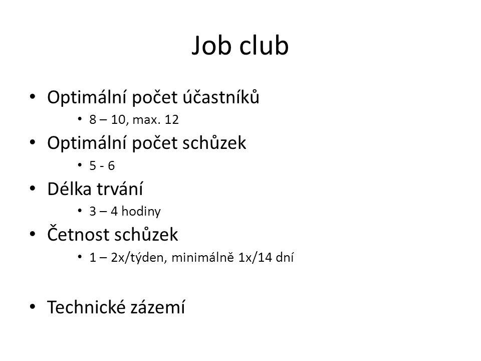 Job club Optimální počet účastníků 8 – 10, max. 12 Optimální počet schůzek 5 - 6 Délka trvání 3 – 4 hodiny Četnost schůzek 1 – 2x/týden, minimálně 1x/