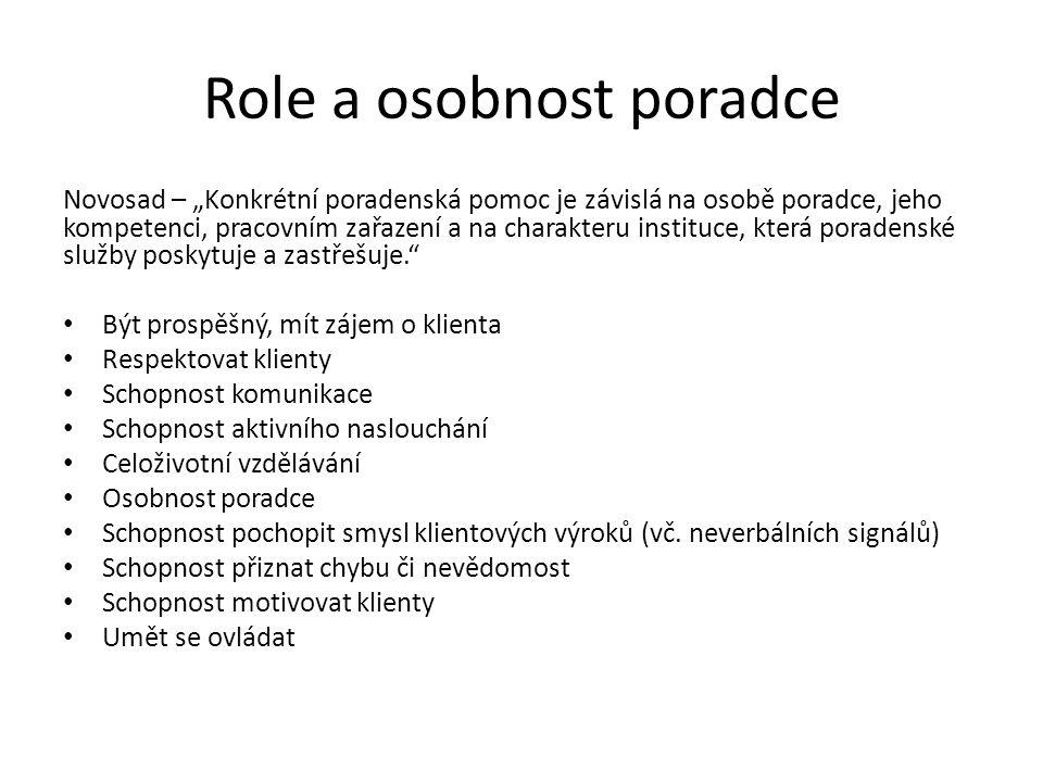 """Role a osobnost poradce Novosad – """"Konkrétní poradenská pomoc je závislá na osobě poradce, jeho kompetenci, pracovním zařazení a na charakteru institu"""