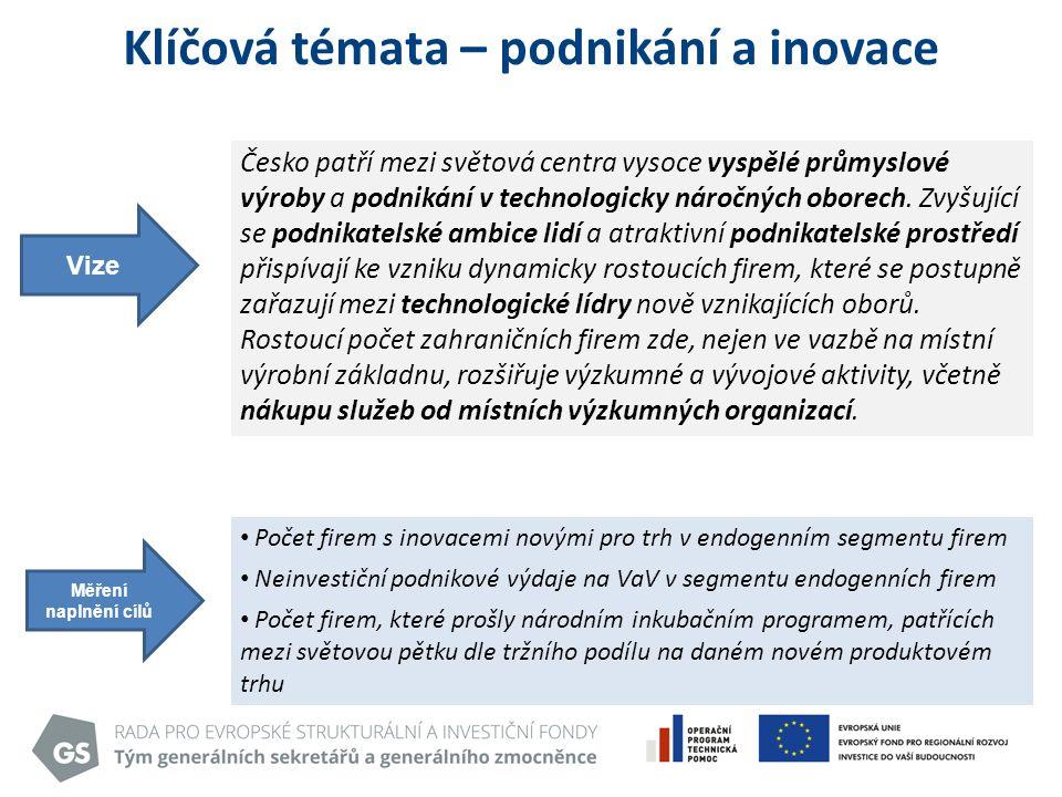 Klíčová témata – podnikání a inovace Vize Česko patří mezi světová centra vysoce vyspělé průmyslové výroby a podnikání v technologicky náročných oborech.