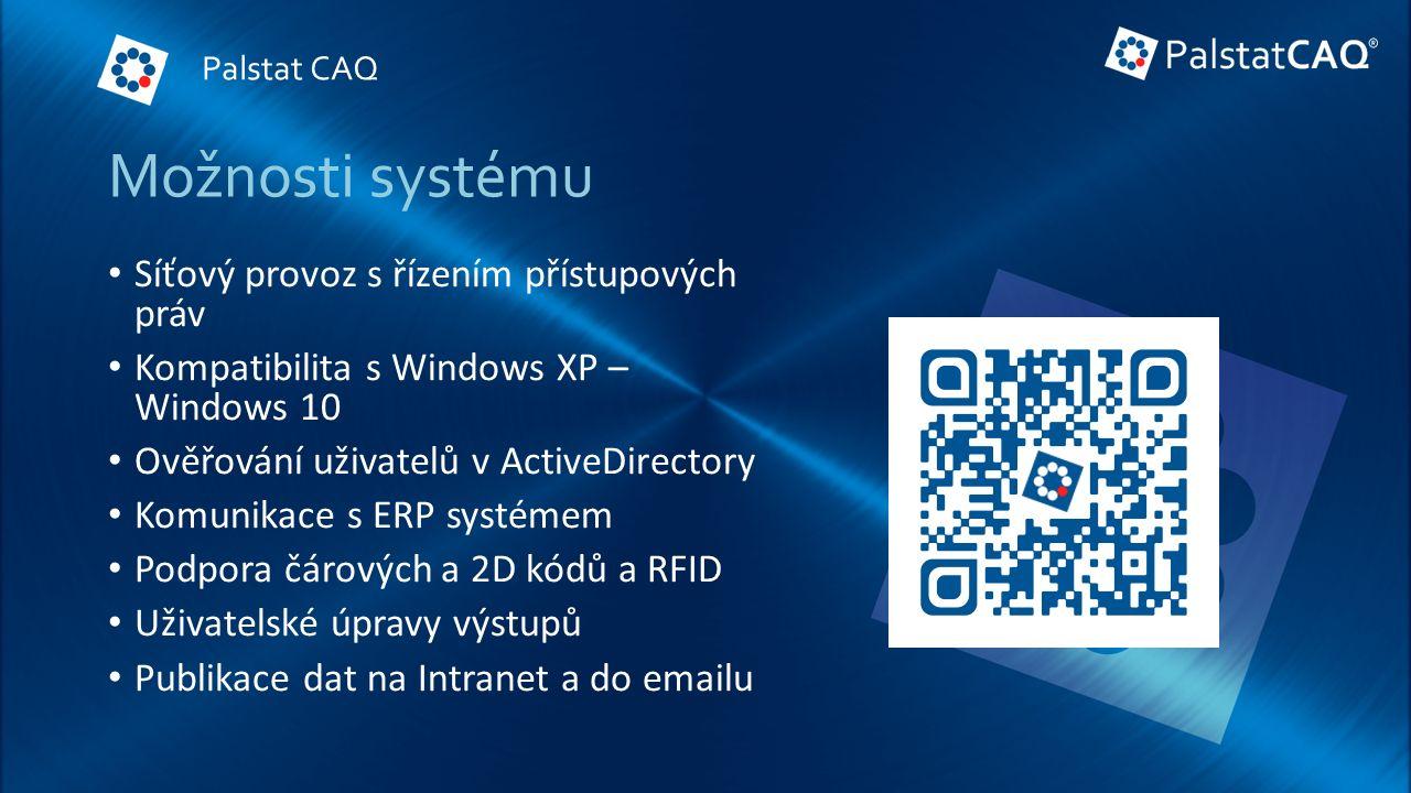 Možnosti systému Síťový provoz s řízením přístupových práv Kompatibilita s Windows XP – Windows 10 Ověřování uživatelů v ActiveDirectory Komunikace s ERP systémem Podpora čárových a 2D kódů a RFID Uživatelské úpravy výstupů Publikace dat na Intranet a do emailu Palstat CAQ