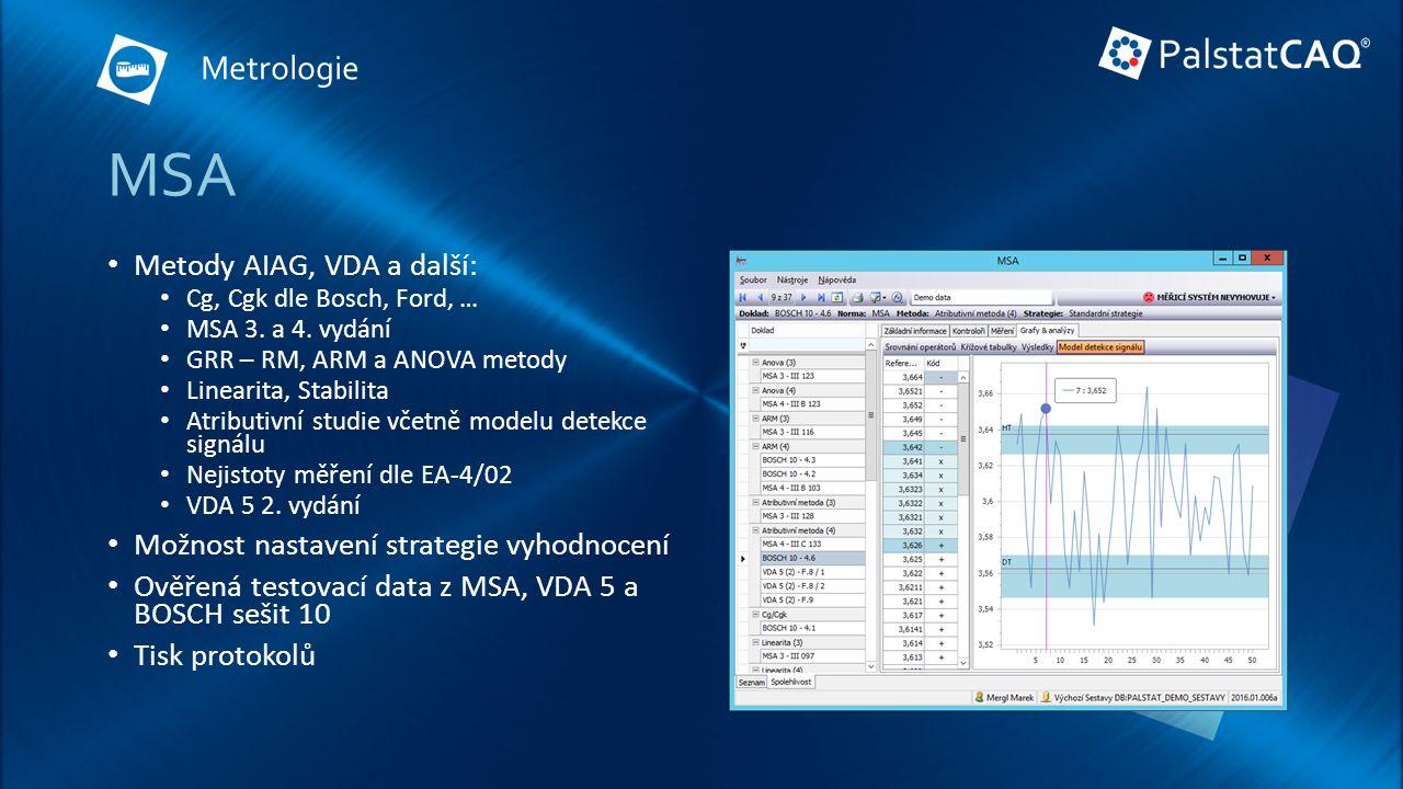 MSA Metody AIAG, VDA a další: Cg, Cgk dle Bosch, Ford, … MSA 3.