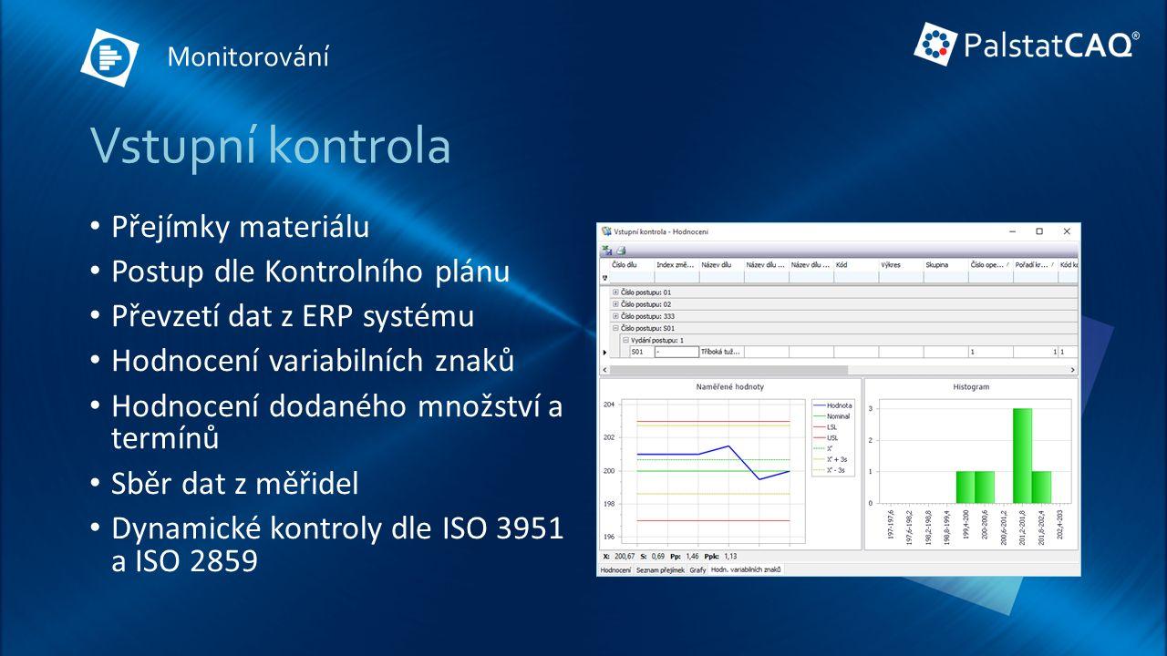 Vstupní kontrola Přejímky materiálu Postup dle Kontrolního plánu Převzetí dat z ERP systému Hodnocení variabilních znaků Hodnocení dodaného množství a termínů Sběr dat z měřidel Dynamické kontroly dle ISO 3951 a ISO 2859 Monitorování