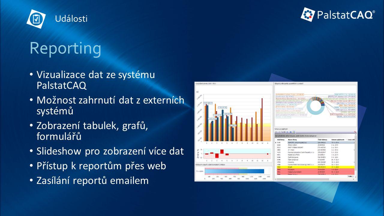 Reporting Vizualizace dat ze systému PalstatCAQ Možnost zahrnutí dat z externích systémů Zobrazení tabulek, grafů, formulářů Slideshow pro zobrazení více dat Přístup k reportům přes web Zasílání reportů emailem Události