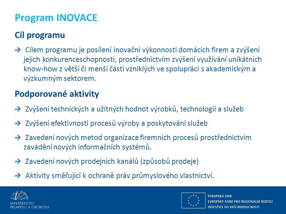 Ing. Martin Kocourek ministr průmyslu a obchodu ZPĚT NA VRCHOL – INSTITUCE, INOVACE A INFRASTRUKTURA Cíl programu Cílem programu je posílení inovační