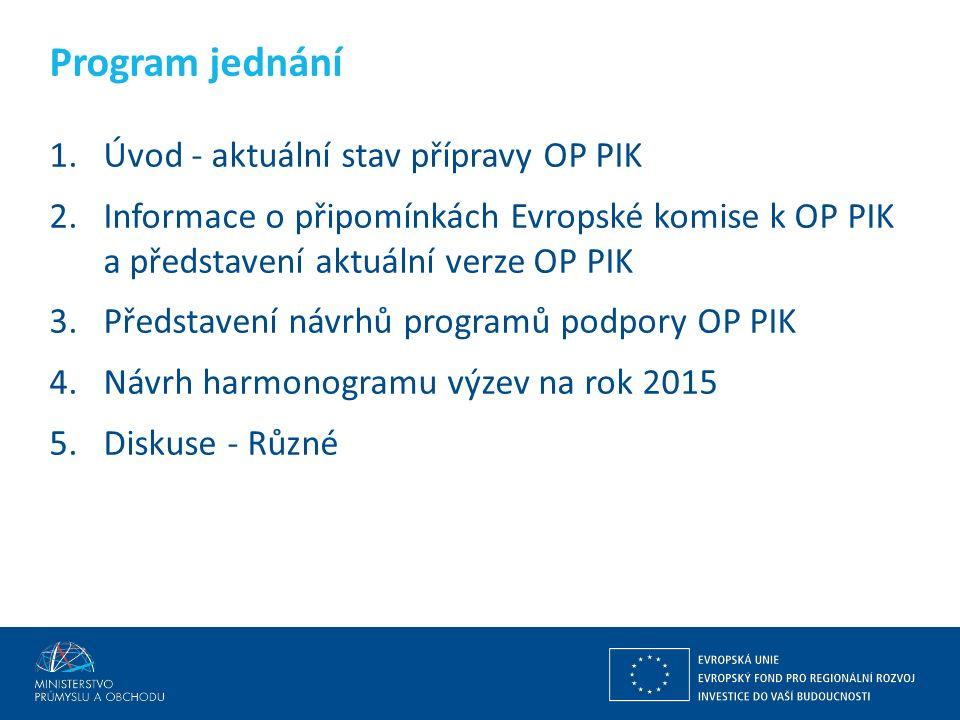 Ing. Martin Kocourek ministr průmyslu a obchodu ZPĚT NA VRCHOL – INSTITUCE, INOVACE A INFRASTRUKTURA 1.Úvod - aktuální stav přípravy OP PIK 2.Informac