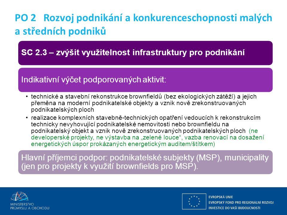 Ing. Martin Kocourek ministr průmyslu a obchodu ZPĚT NA VRCHOL – INSTITUCE, INOVACE A INFRASTRUKTURA SC 2.3 – zvýšit využitelnost infrastruktury pro p