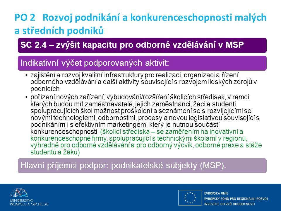 Ing. Martin Kocourek ministr průmyslu a obchodu ZPĚT NA VRCHOL – INSTITUCE, INOVACE A INFRASTRUKTURA SC 2.4 – zvýšit kapacitu pro odborné vzdělávání v