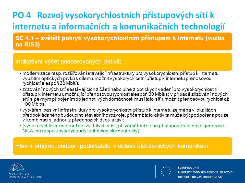 Ing. Martin Kocourek ministr průmyslu a obchodu ZPĚT NA VRCHOL – INSTITUCE, INOVACE A INFRASTRUKTURA SC 4.1 – zvětšit pokrytí vysokorychlostním přístu