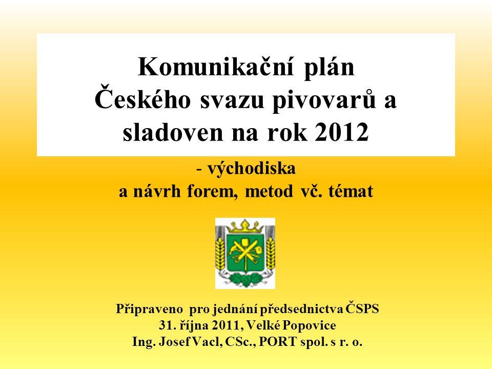 Komunikační plán Českého svazu pivovarů a sladoven na rok 2012 Připraveno pro jednání předsednictva ČSPS 31.