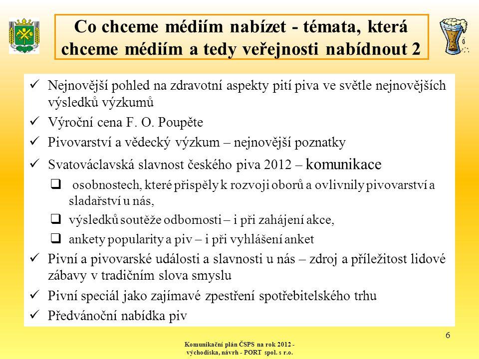 Metody a formy oslovení médií – reflexe našich potřeb a jejich požadavků - a především proaktivně… Komunikační plán ČSPS na rok 2012 - východiska, návrh - PORT spol.