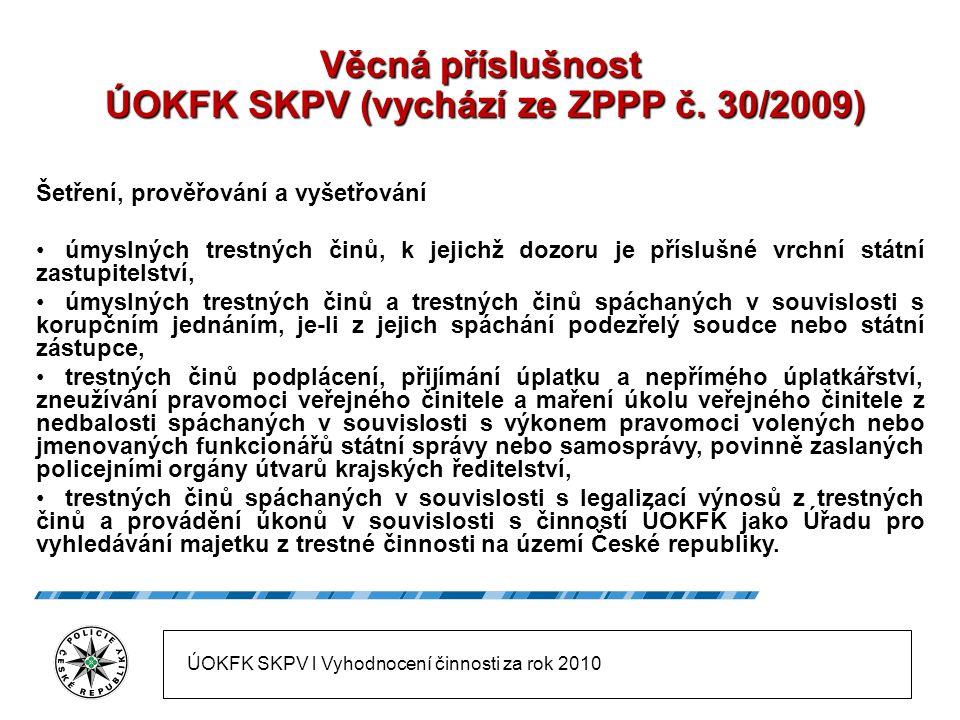 Věcná příslušnost ÚOKFK SKPV (vychází ze ZPPP č.