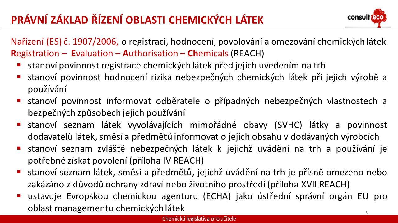 PRÁVNÍ ZÁKLAD ŘÍZENÍ OBLASTI CHEMICKÝCH LÁTEK Chemická legislativa pro učitele Nařízení (ES) č. 1907/2006, o registraci, hodnocení, povolování a omezo