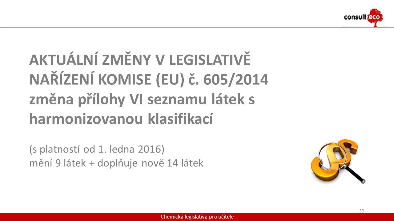 Chemická legislativa pro učitele AKTUÁLNÍ ZMĚNY V LEGISLATIVĚ NAŘÍZENÍ KOMISE (EU) č. 605/2014 změna přílohy VI seznamu látek s harmonizovanou klasifi