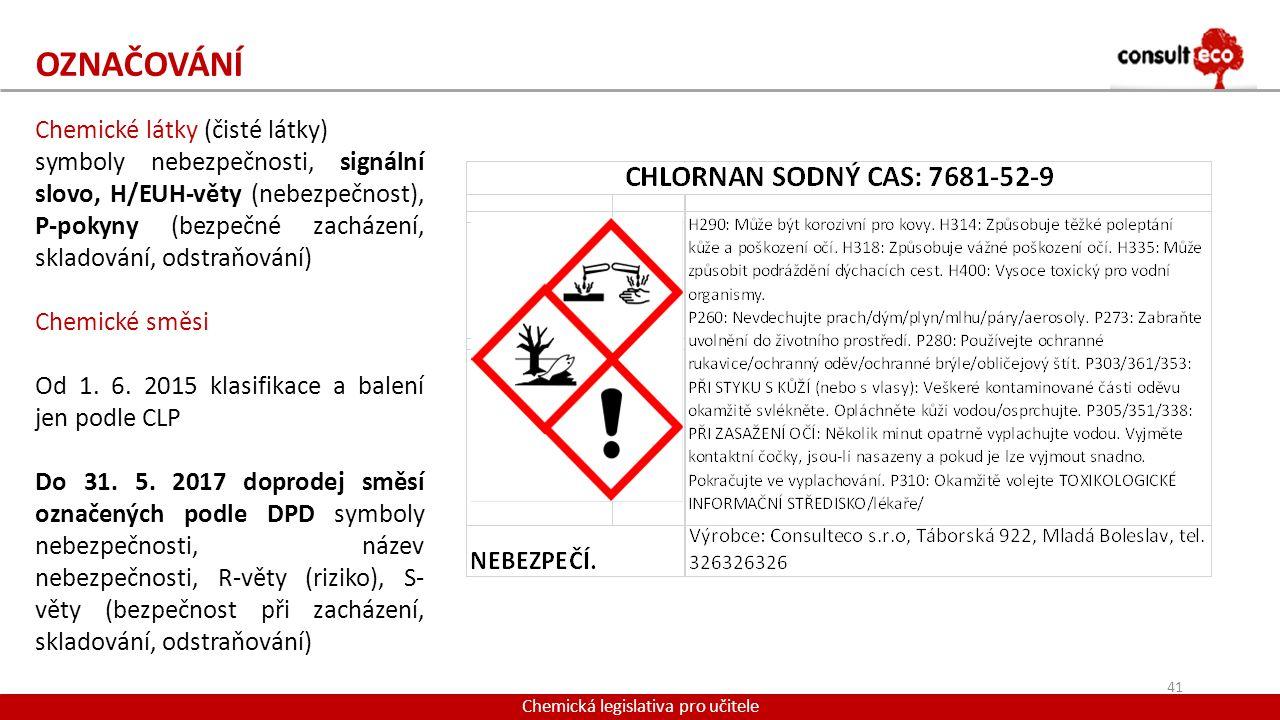 OZNAČOVÁNÍ Chemická legislativa pro učitele Chemické látky (čisté látky) symboly nebezpečnosti, signální slovo, H/EUH-věty (nebezpečnost), P-pokyny (b