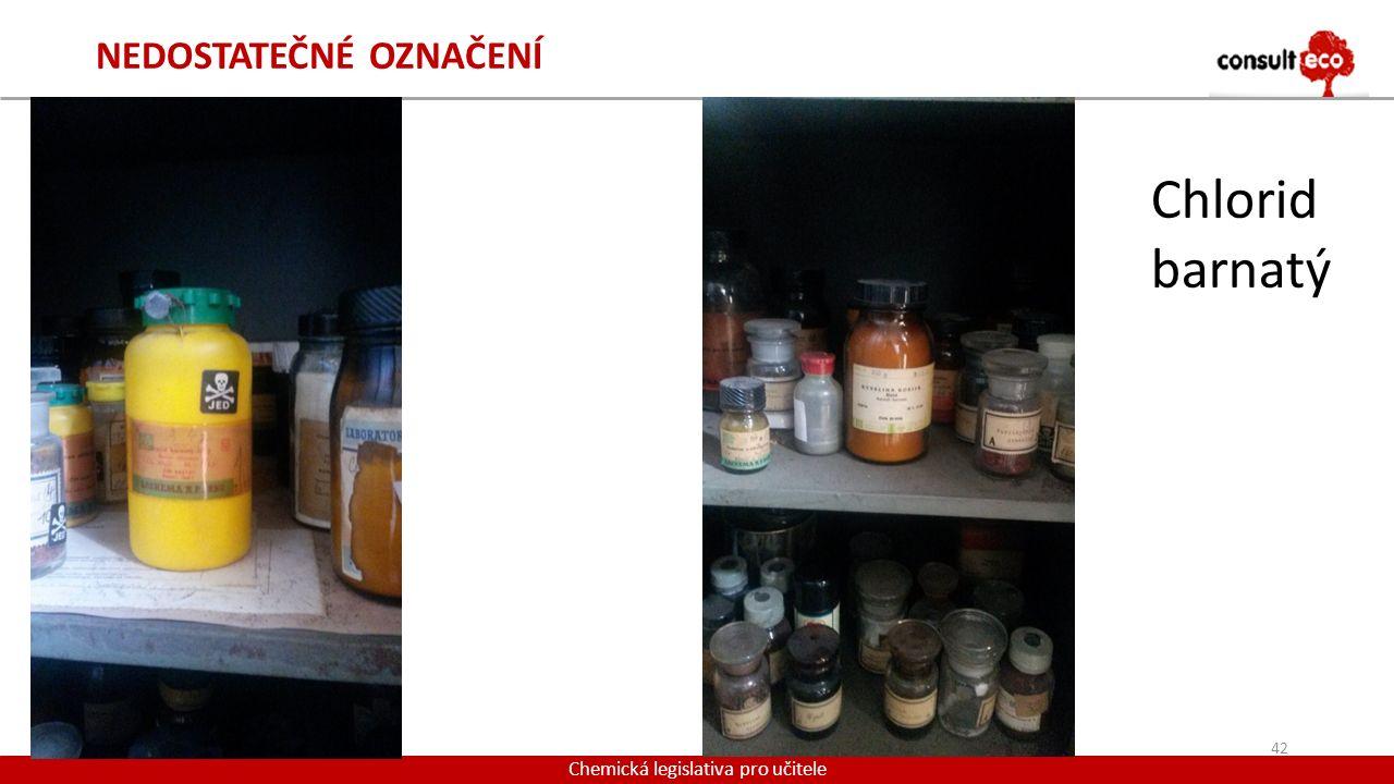 NEDOSTATEČNÉ OZNAČENÍ 42 Chemická legislativa pro učitele Chlorid barnatý