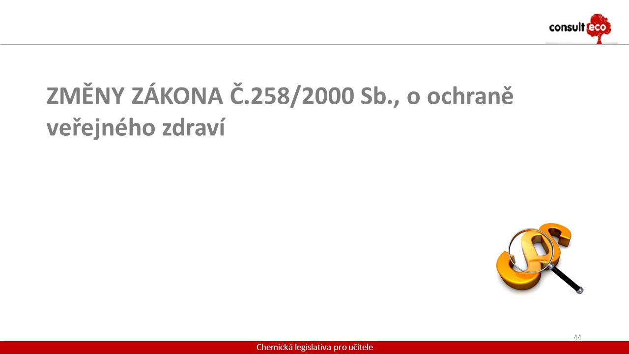 Chemická legislativa pro učitele ZMĚNY ZÁKONA Č.258/2000 Sb., o ochraně veřejného zdraví 44