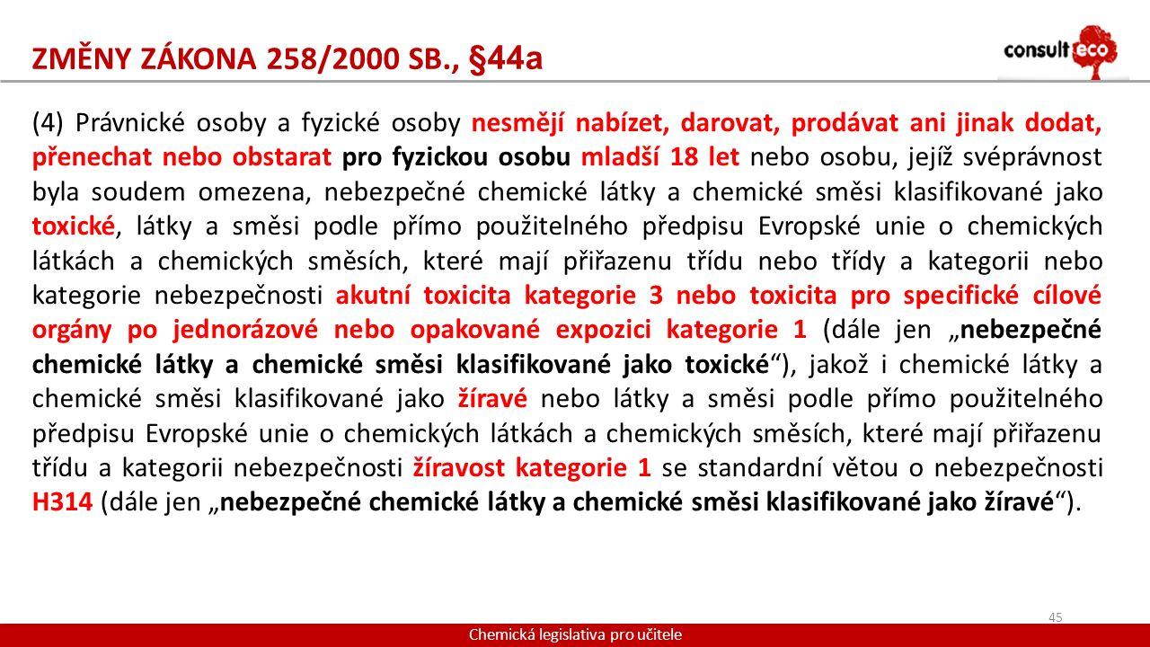 ZMĚNY ZÁKONA 258/2000 SB., §44a Chemická legislativa pro učitele (4) Právnické osoby a fyzické osoby nesmějí nabízet, darovat, prodávat ani jinak doda
