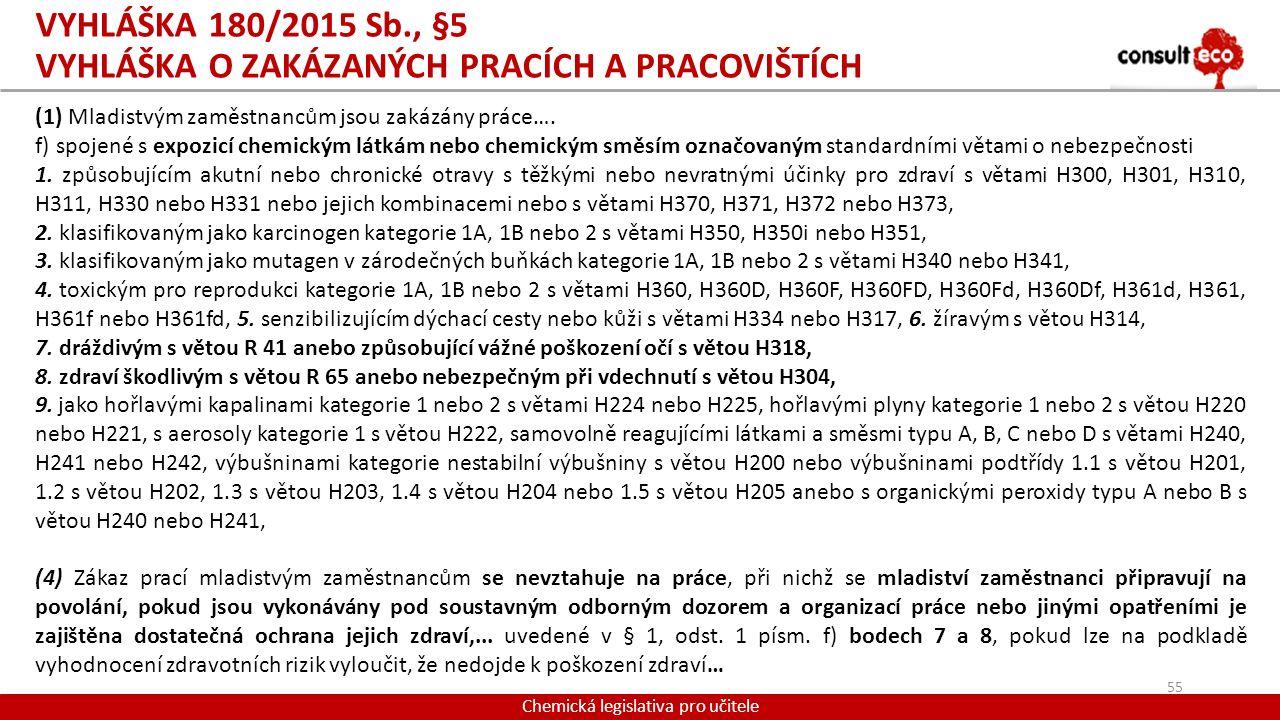 VYHLÁŠKA 180/2015 Sb., §5 VYHLÁŠKA O ZAKÁZANÝCH PRACÍCH A PRACOVIŠTÍCH Chemická legislativa pro učitele (1) Mladistvým zaměstnancům jsou zakázány prác