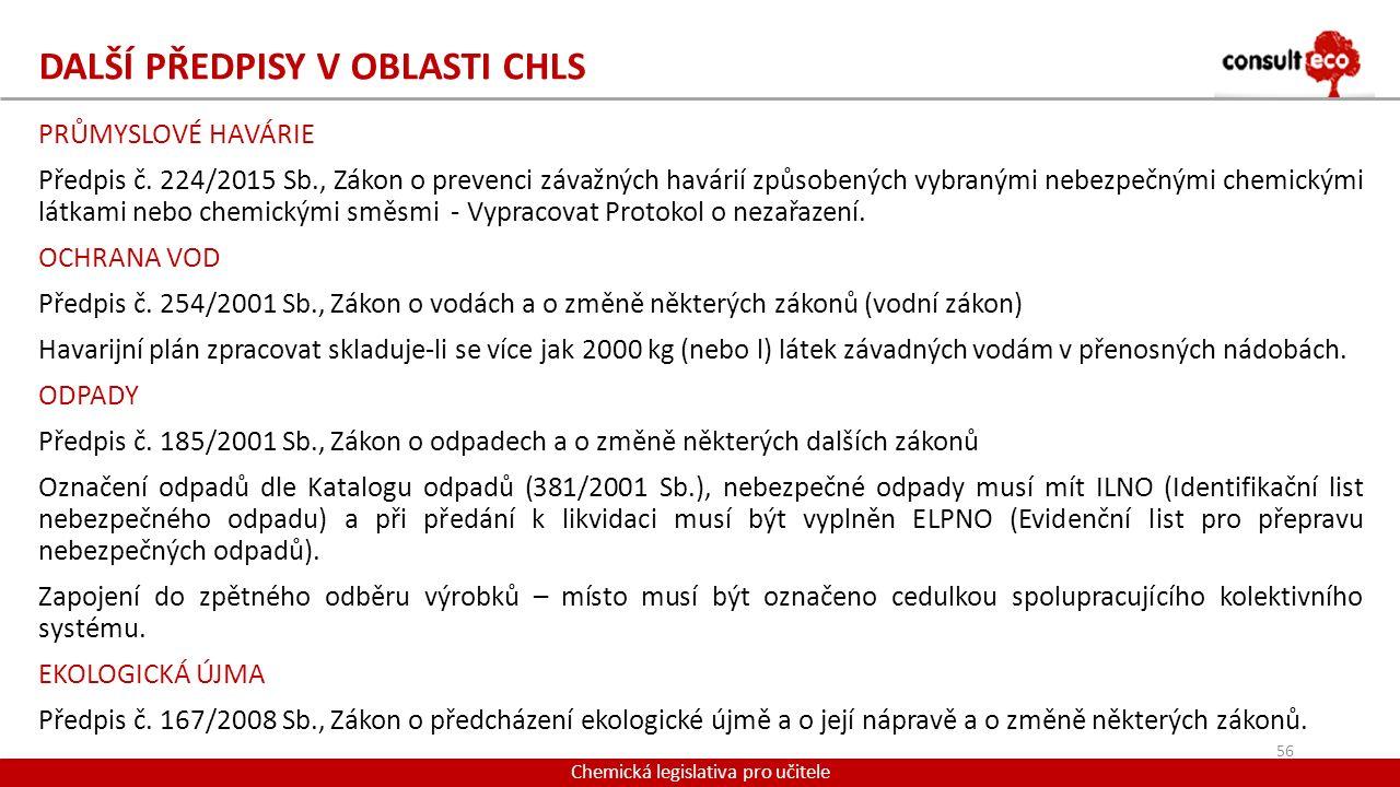 DALŠÍ PŘEDPISY V OBLASTI CHLS PRŮMYSLOVÉ HAVÁRIE Předpis č. 224/2015 Sb., Zákon o prevenci závažných havárií způsobených vybranými nebezpečnými chemic