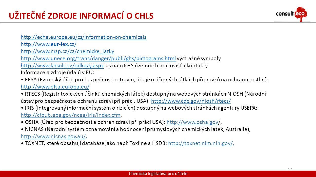 UŽITEČNÉ ZDROJE INFORMACÍ O CHLS Chemická legislativa pro učitele http://echa.europa.eu/cs/information-on-chemicals http://www.eur-lex.cz/ http://www.