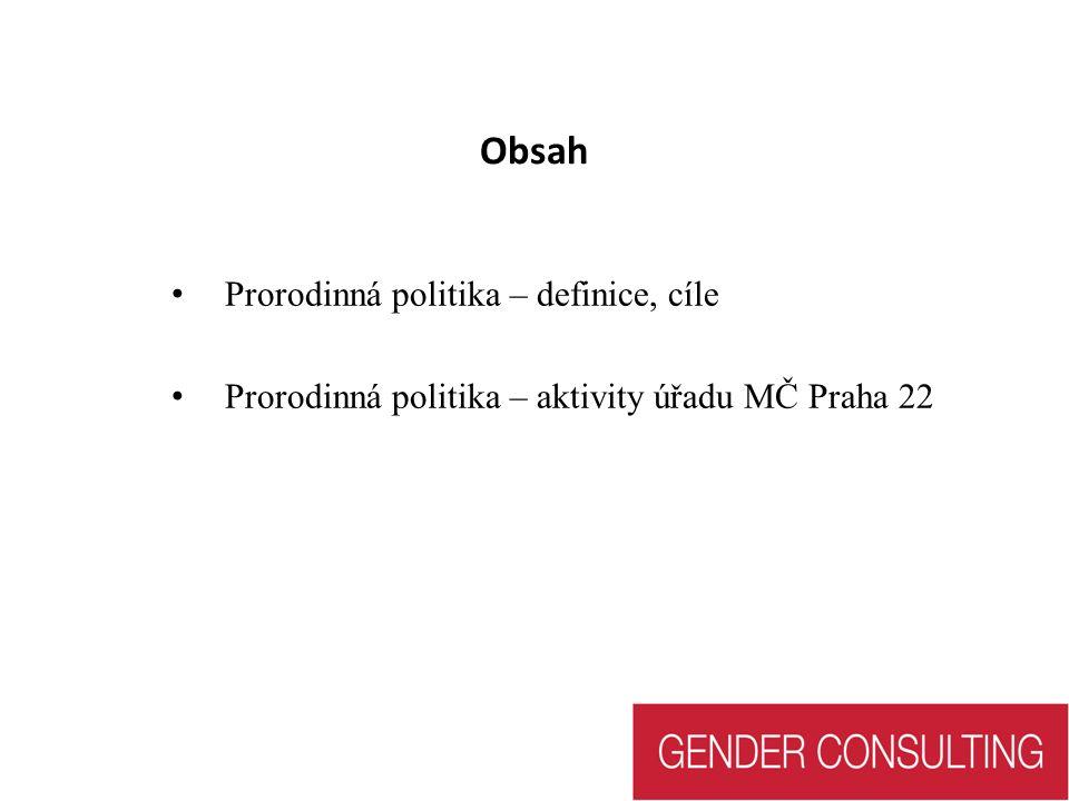 Obsah Prorodinná politika – definice, cíle Prorodinná politika – aktivity úřadu MČ Praha 22