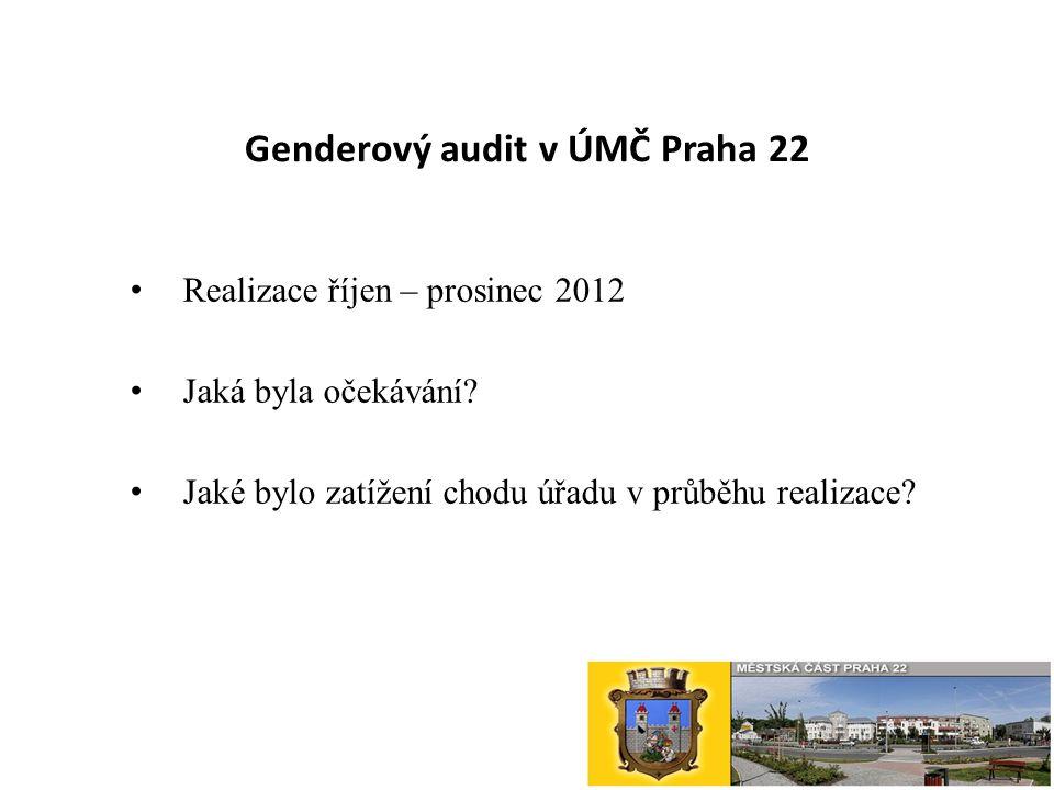 Genderový audit v ÚMČ Praha 22 Realizace říjen – prosinec 2012 Jaká byla očekávání.