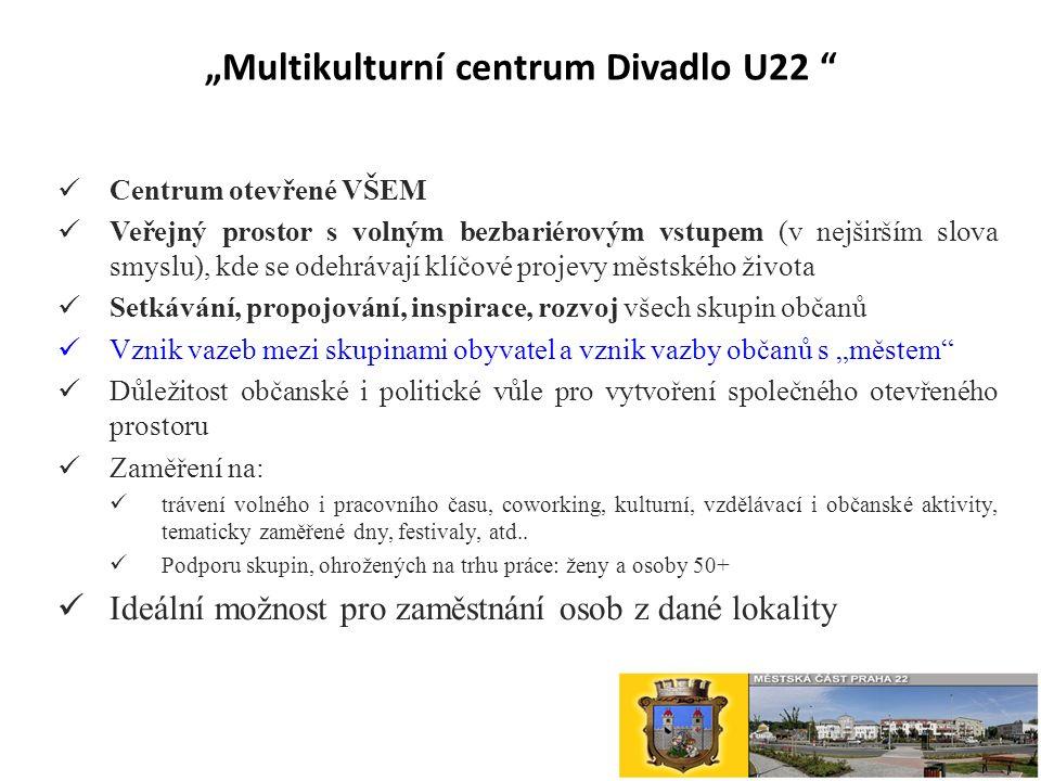 """""""Multikulturní centrum Divadlo U22 Centrum otevřené VŠEM Veřejný prostor s volným bezbariérovým vstupem (v nejširším slova smyslu), kde se odehrávají klíčové projevy městského života Setkávání, propojování, inspirace, rozvoj všech skupin občanů Vznik vazeb mezi skupinami obyvatel a vznik vazby občanů s """"městem Důležitost občanské i politické vůle pro vytvoření společného otevřeného prostoru Zaměření na: trávení volného i pracovního času, coworking, kulturní, vzdělávací i občanské aktivity, tematicky zaměřené dny, festivaly, atd.."""