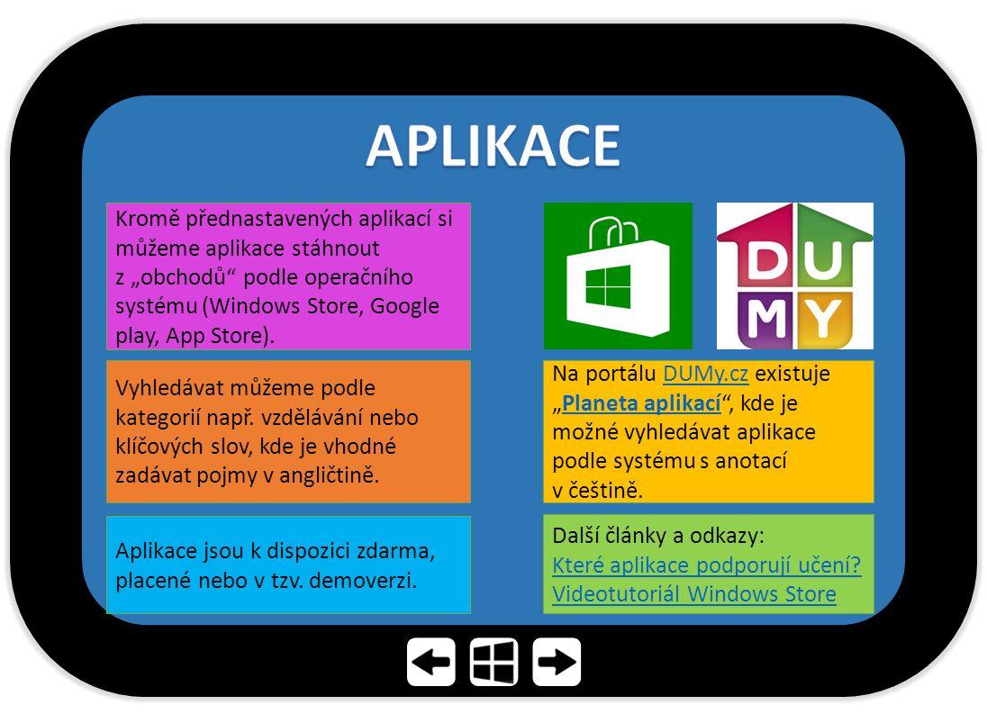 """Kromě přednastavených aplikací si můžeme aplikace stáhnout z """"obchodů"""" podle operačního systému (Windows Store, Google play, App Store). Vyhledávat mů"""