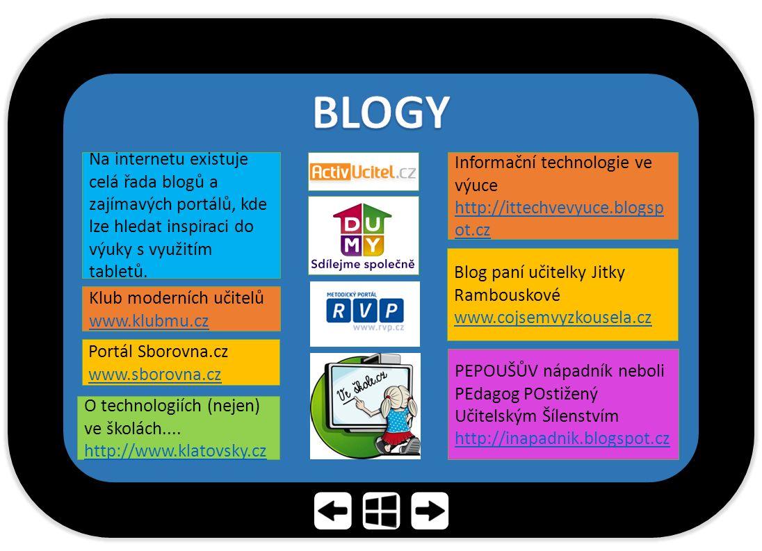 Blog paní učitelky Jitky Rambouskové www.cojsemvyzkousela.cz Na internetu existuje celá řada blogů a zajímavých portálů, kde lze hledat inspiraci do výuky s využitím tabletů.