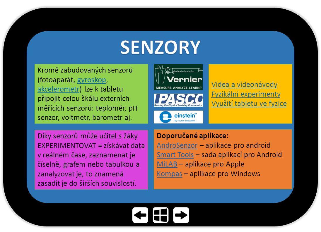 Kromě zabudovaných senzorů (fotoaparát, gyroskop, akcelerometr) lze k tabletu připojit celou škálu externích měřících senzorů: teploměr, pH senzor, voltmetr, barometr aj.gyroskop akcelerometr Díky senzorů může učitel s žáky EXPERIMENTOVAT = získávat data v reálném čase, zaznamenat je číselně, grafem nebo tabulkou a zanalyzovat je, to znamená zasadit je do širších souvislostí.