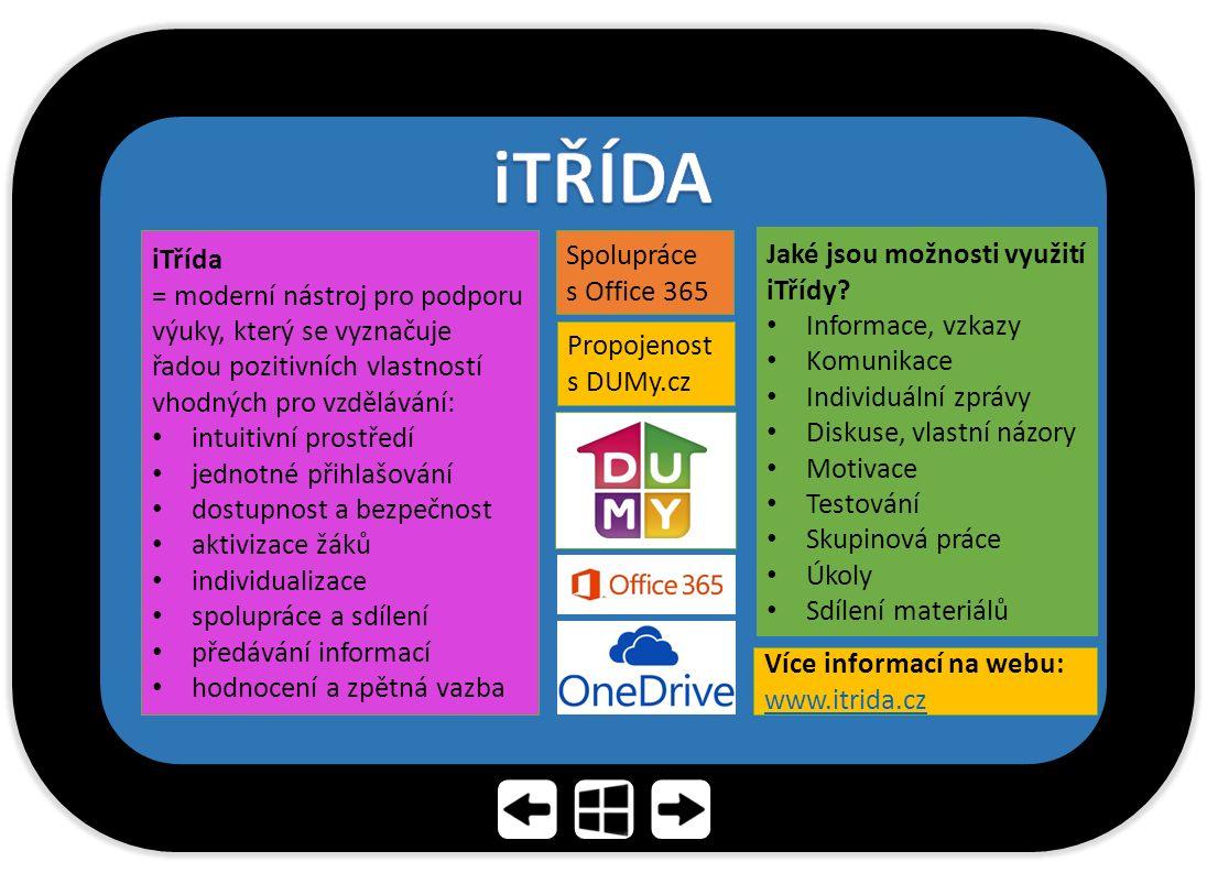 iTřída = moderní nástroj pro podporu výuky, který se vyznačuje řadou pozitivních vlastností vhodných pro vzdělávání: intuitivní prostředí jednotné při