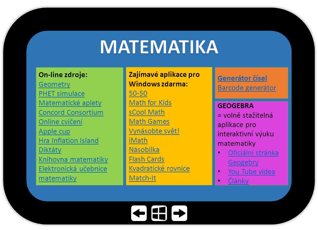 GEOGEBRA = volně stažitelná aplikace pro interaktivní výuku matematiky Oficiální stránka Geogebry Oficiální stránka Geogebry You Tube videa Články On-line zdroje: Geometry PHET simulace Matematické aplety Concord Consortium Online cvičení Apple cup Hra Inflation Island Diktáty Knihovna matematiky Elektronická učebnice matematiky Zajímavé aplikace pro Windows zdarma: 50-50 Math for Kids sCool Math Math Games Vynásobte svět.