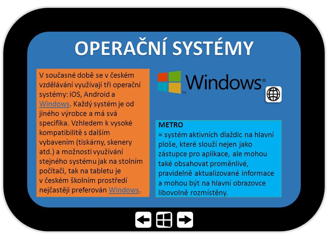 V současné době se v českém vzdělávání využívají tři operační systémy: iOS, Android a Windows.