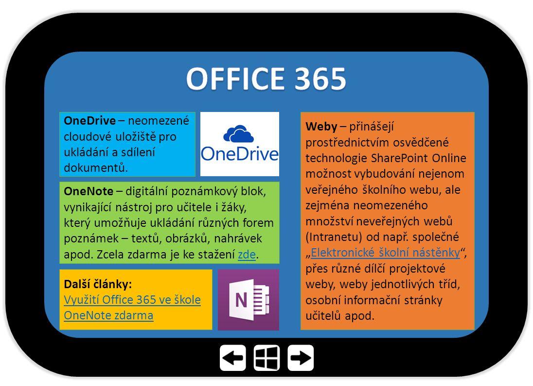 OneDrive – neomezené cloudové uložiště pro ukládání a sdílení dokumentů.