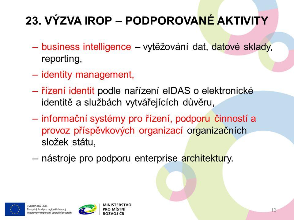 23. VÝZVA IROP – PODPOROVANÉ AKTIVITY –business intelligence – vytěžování dat, datové sklady, reporting, –identity management, –řízení identit podle n