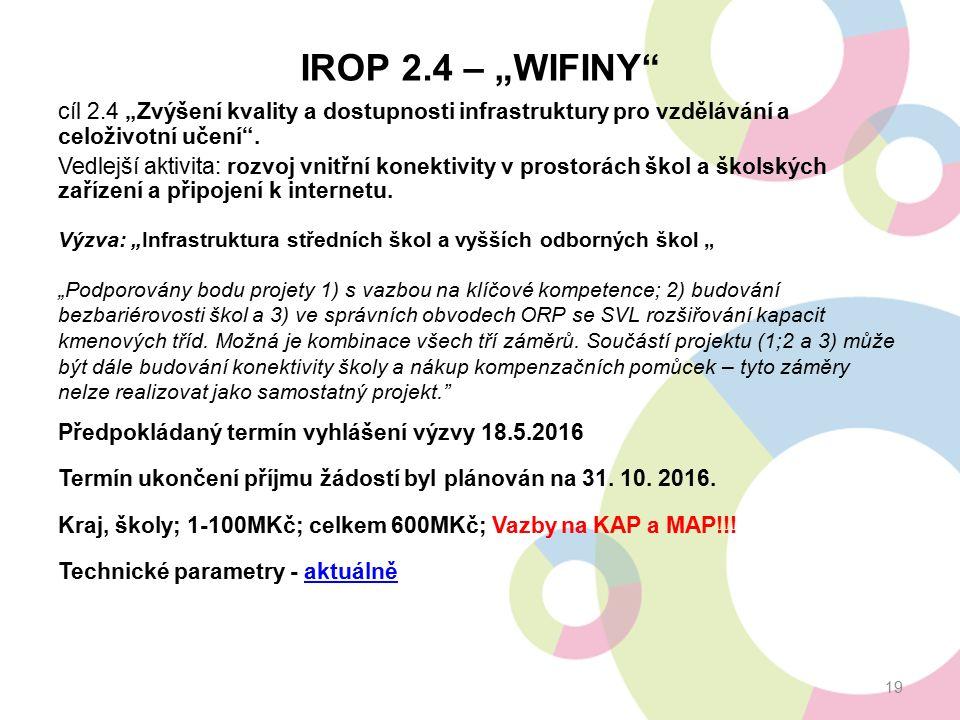 """IROP 2.4 – """"WIFINY"""" cíl 2.4 """"Zvýšení kvality a dostupnosti infrastruktury pro vzdělávání a celoživotní učení"""". Vedlejší aktivita: rozvoj vnitřní konek"""